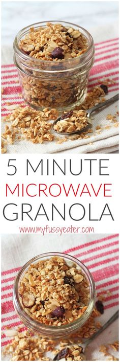 A quick and easy granola recipe - made in the microwave in just 5 minutes! What an easy healthy kids breakfast idea. All clean eating ingredients are used so pin now to make later!