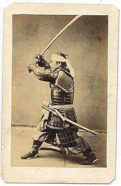 Samurai in fighting stance