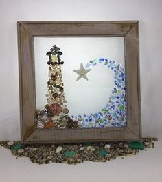 10 x 10 stained solid wood frame with a hint of pink featuring natural sea shells, armored starfish, beach glass, sea glass seascape design. Catching a wave makes a special gift for that special someone in your life. Ready to hang.