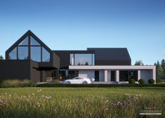 House with attic in modern style with usable area House project with swimming pool. Minimum size of a plot needed for building a house is m. Modern Barn House, Modern House Design, Home Building Design, Building A House, Bungalow House Design, Modern Farmhouse Exterior, Dream House Exterior, Facade House, Home Fashion