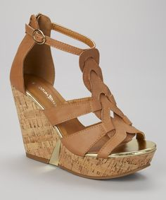 Tan Athens Wedge Sandal by Nature Breeze #zulily #zulilyfinds