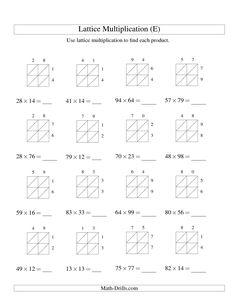 Lattice Method Multiplication Double Digits  Multiplication