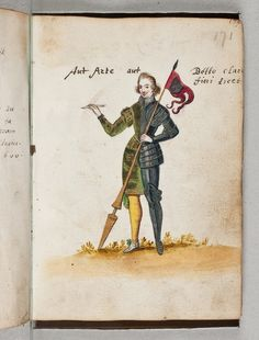 """page from the album amicorum of J van Amstel van Mijnden -- a bifid figure Man-of-letters/Soldier which doesn't derive from the """"Pugillus Facetiarum"""" type. This is via the Koninklijke bibliotheek, Amsterdam site REPINNED FROM MY """"ALBUM AMICORUM"""" BOARD"""
