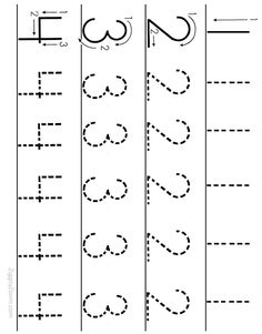 Alphabet Worksheets for Preschoolers - Printable number tracing Tracing Worksheets, Number Worksheets Kindergarten, Numbers Preschool, Learning Numbers, Alphabet Worksheets, Writing Numbers, Preschool Learning, In Kindergarten, Preschool Activities
