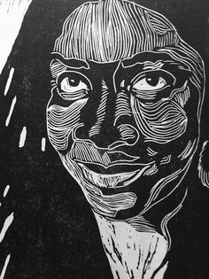 Stunning lino cut portrait by Maureen Nathan