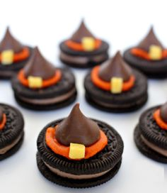 Top Oreos with Hershey's Kisses to make these treats.