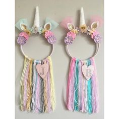 Handmade baby Nursery decor inspo | Unicorn Dreamcatchers | pretty pastel shades for a baby girls bedroom
