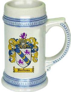 Barbosa Coat of Arms / Family Crest tankard stein mug