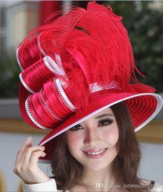 8f5e91c9f1b Ladies  Derby Church Hats Women Hat Satin Fabric Twist Hat Satin Ribbon Hat  Feather Women Chapeau Millinery Top Hat Good Quality Red Hat