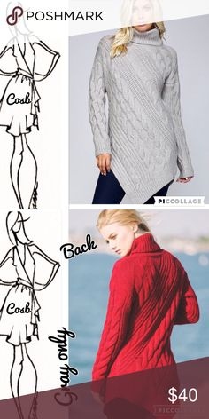 Sneak Peek...Heather Gray Sweater w/Turtleneck Cute Heather Gray Sweater w/Turtleneck. Sweater is cable knit & comes to a point @ the bottom on one side. Comes past hips. Cosb Sweaters