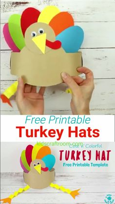 Printable Turkey Hats Looking for an easy Thanksgiving craft the whole family can enjoy? This Free Printable Turkey Hat Craft is so cute colourful and fun! Thanksgiving Arts And Crafts, Fall Paper Crafts, Thanksgiving Crafts For Kids, Easy Christmas Crafts, Thanksgiving Turkey, Craft With Paper, Thanksgiving Activities For Preschool, Free Thanksgiving Printables, Fall Arts And Crafts
