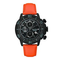 Nautica Men's Watch A21533G Stealth Black Chrono 46 mm Dial Orange Leather Strap