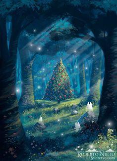 """Studio Ghibli France sur Twitter : """"Ambiance de Noël dans la forêt de Totoro avec ce fan-art signé Roberto Nieto  #Ghibli #Totoro #StudioGhibli #fanart #Noel #Christmas https://t.co/oGMAR9MTPY"""""""