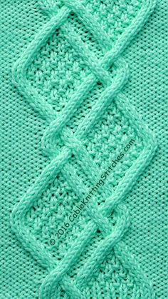 Cable Knitting Stitches » Cable Panel 17 » Double Moss Stitch Diamonds