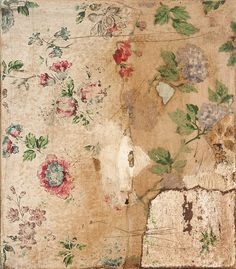 ngaiolenz:  (35.0 x 45.0cm) Memoirs of a room series Decollage, vintage wallpaper and paint on board