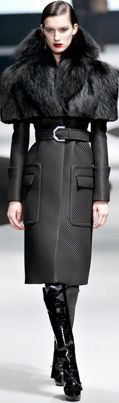 Viktor & Rolf ~ Black Wool Coat w Fur Collar Cap 2012-2013