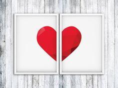 Art Print Set, Wall Art Set, Heart Wall Decor, Love Home Decor, Love Heart Wall Art, Minimalist Poster, Minimal Print, Love Printable Art