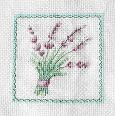 Lavender bouquet, cross stitch