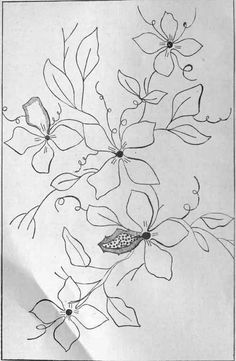 Silk Ribbon Embroidery Instructions | Clematis design for a muff, to be embroidered in silk and beads. To ...