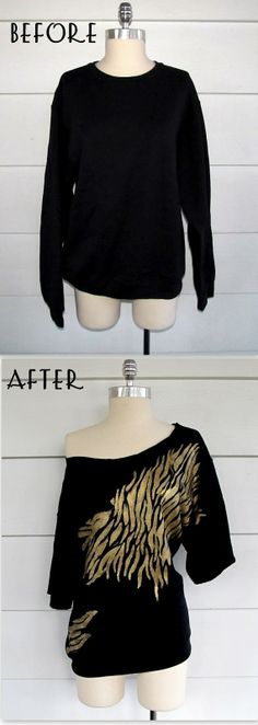Zebra Off the Shoulder Sweatshirt. | I wouldn't do the Zebra print, but this is a pretty neat idea for those old sweatshirts sitting in the drawers.