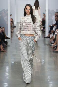 Zimmermann Spring 2017 Ready-to-wear collection Australia designer new york fashion week collection style runway Blanca Padilla Bowerbird Plaid Blouse, Bowebird Buckle Trouser, Tassel Belt, Lace Boot