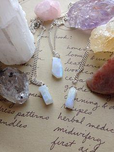 Rainbow Moonstone Necklace-Rainbow Moonstone-Silver Raw Rainbow Moonstone-Moonstone Jewelry-Crystal Necklace