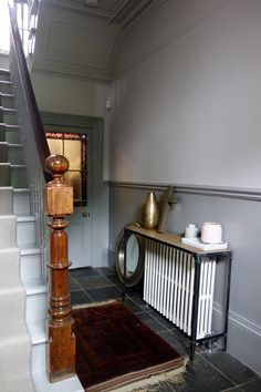dado rail hallway, grey hallway, dream house interior, farrow and ball kitchen Dado Rail Hallway, Grey Hallway, Dado Rail Bedroom, Dado Rail Living Room, Long Hallway, Entry Hallway, Entrance Hall, Hallway Colours, Room Colors