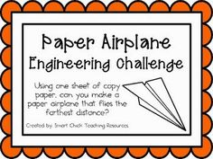 Airplane: Engineering Challenge Project ~ Great STEM Activity Engineering Challenge: Using one sheet of copy paper, can you make a paper…Engineering Challenge: Using one sheet of copy paper, can you make a paper… Stem Science, Teaching Science, Science Centers, Primary Science, Weird Science, Stem Projects, Science Projects, School Projects, Make A Paper Airplane