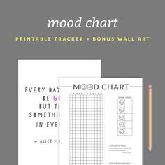 Printable Mood Chart - A Year in Pixels Printable + BONUS Printable Inspiring Quote Wall Art- Instant Download