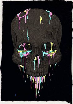 skull sil in black colours dripping from holes