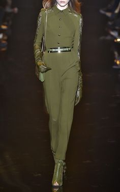 Olive Stretch Cady Lace Long Sleeve Jumpsuit by Elie Saab for Preorder on Moda Operandi