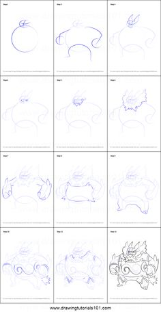 How to Draw Emboar from Pokemon printable step by step drawing sheet : DrawingTutorials101.com