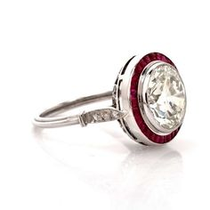 Ruby Diamond Platinum Ring | From a unique collection of vintage engagement rings at https://www.1stdibs.com/jewelry/rings/engagement-rings/