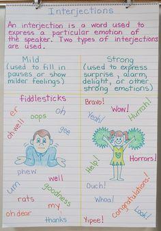Parts of Speech ~ Interjections - Book Units Teacher Teaching English Grammar, English Writing Skills, Writing Lessons, Teaching Writing, English Lessons, English Vocabulary, Learning English, Grammar Anchor Charts, Grammar Rules