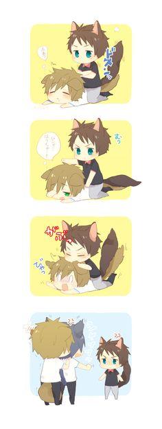 Protecting Makoto ... Drawn by gimm_tareme ... Free! - Iwatobi Swim Club, haruka…