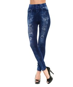 Another great find on #zulily! Denim Blue Jeggings by Lady Monkey #zulilyfinds