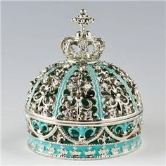 Imperial Crown Faberge Jewelry Box, Dimensions: 2.75in (H) X 2.25in (D), Material: Pewter, Crystals, Enamel.