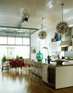 fab kitchen with roll up garage door!