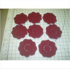 Set of 8 Crocheted Mug Coasters - Burgundy- 4 1/2 Inch