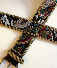 Vintage Sequined Silk Belt Sz 3034 by BarbeeVintage on Etsy, $14.00