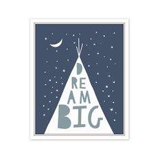 Blue and grey Nursery teepee art featuring typography- dream big. This is a professional Giclee print on thick archival white cotton paper using long lasting ultrachrome giclee inks. Many sizes available. Edge to edge printing. Ships flat in a non-rigid envelope in 3-6 business days. Frame and mat not included. Made in U.S.A  CUSTOM COLORS: If you like a different color than shown here, you can choose from 30 gorgeous colors (see photo 2). You can change up to ONE color in this print for…