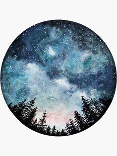 Watercolor Art Print Starry Sky Forest Art Circle Art Home Watercolor Night Sky, Watercolor Circles, Watercolor Galaxy, Galaxy Painting, Galaxy Art, Watercolor Paintings, Space Watercolor, Tattoo Watercolor, Abstract Watercolor