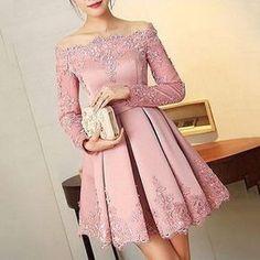 Fabuloso Rosa Empoeirado Apliques Curto Vestidos mulheres Curto Prom Formal Vestidos de Noite Fora Do Ombro Encantador Prom Maxi Vestidos Vestidos