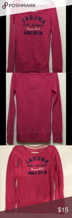 Hollister Pink Long Sleeve Sweater Women Hollister Sweater Surf Team  HCO #12 Color - Pink 60% Cotton 40% Polyester  Small ALL ITEMS ARE USED, PLEASE KEEP THAT IN MIND MONITORS, PHONES AND TABLETS CAN ALL MAKE THE PHOTOS LOOK SLIGHTLY DIFFERENT, WHEN IN DOUBT JUST KINDLY ASK FOR CLARIFICATION.  I LIST NEW ITEMS WEEKLY Hollister Sweaters Crew & Scoop Necks
