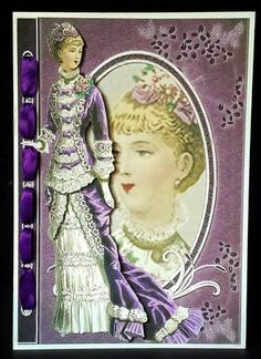 Victorian Lady in Violet Fashion Reflections on Craftsuprint designed by Sue Way - made by Deborah Sweet - I printed the sheet on lightweight card and cut out. I cut slits in the topper and thread ribbon through, then attached the topper to an A5 pearlescent card. The decoupage was added with foam pads. - Now available for download!