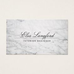 Modern White Marble Luxury Designer Business Card.  Visit link to see if you can save with coupon codes or promotions! A beautiful, modern card design set on white marble. The minimal nature of this design gives it a feeling of luxury. The script font on the front is perfect for your business name or your name. Contact the designer for any special requests. © 1201AM CREATIVE #zazzle #businesscards #modern