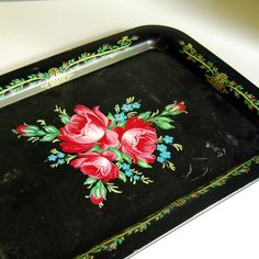 Vintage Tin Tray Toleware Serving Tray with Red by CalloohCallay, $20.00