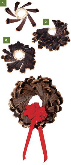 Turkey feather wreath for Christmas or Thanksgiving. I used a larger straw wreath and layered the smaller feathers onto the top. It turned out great! This looks cool Feather Wreath, Feather Crafts, Feather Art, Fall Crafts, Christmas Crafts, Christmas Decorations, Rustic Christmas, Christmas Wreaths, Turkey Mounts