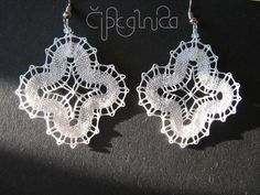 Small White Lace Earrings - handmade bobbin lace jewelry