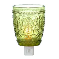 The embossed design on this Vintage Green Glass Night Light will add an antique flourish to any room. You'll love the way its glass shade catches the light. Grape Kitchen Decor, Turquoise Kitchen Decor, Mexican Kitchen Decor, Colorful Kitchen Decor, Retro Kitchen Decor, Kitchen Decor Themes, Discount Home Decor, Vintage Green Glass, Lamps For Sale